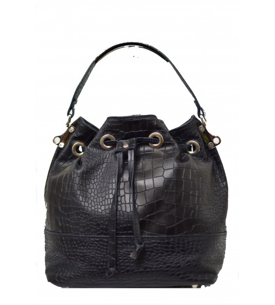 Handbag - Croco - Black