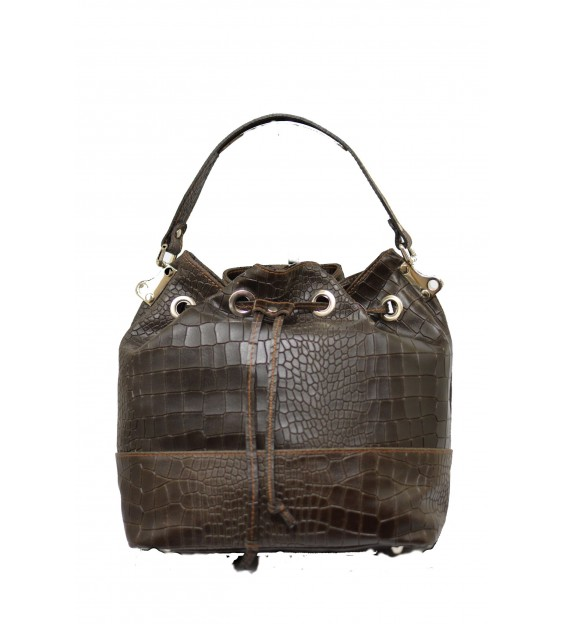 Handtas - Croco - Dark brown