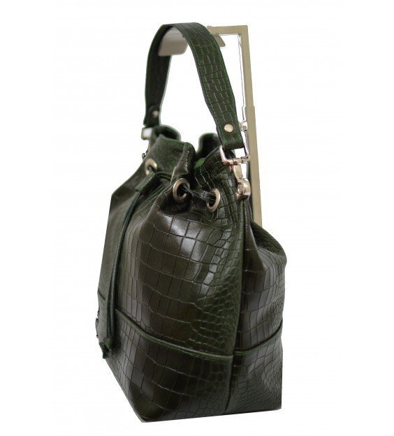 Handtas - Croco - Dark green