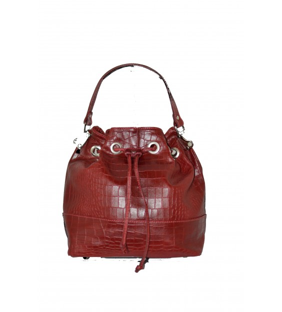 Handbag - Croco - Dark red
