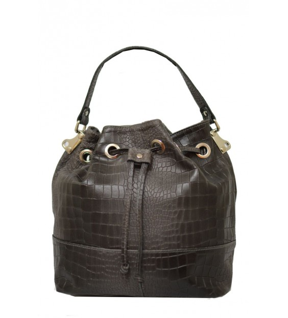 Handbag - Croco - Dark grey