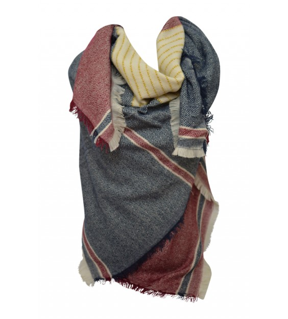 Scarf - Grafic - Dark blue/Red/Yellow