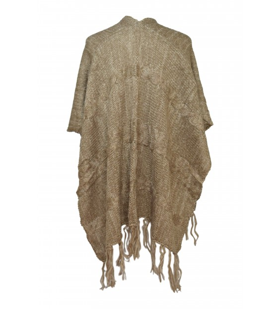 Poncho - Wool Design - Beige