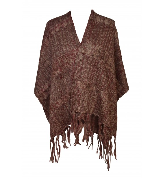 Poncho - Wool Design - Bordeaux