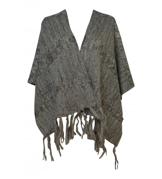 Poncho - Wool Design - Light Grey