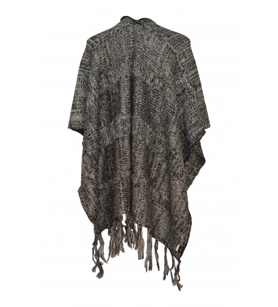 Poncho - Wool Design - Black