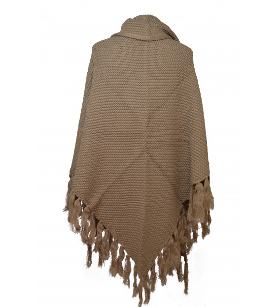 Poncho - Knitted - Grey