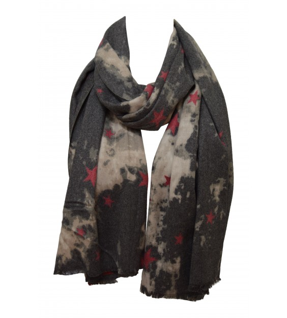 Scarf - Star - Gray/Beige/Rose