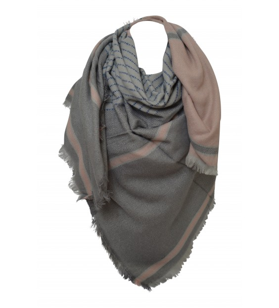 Scarf - Grafic - Gray/Pink/Taupe