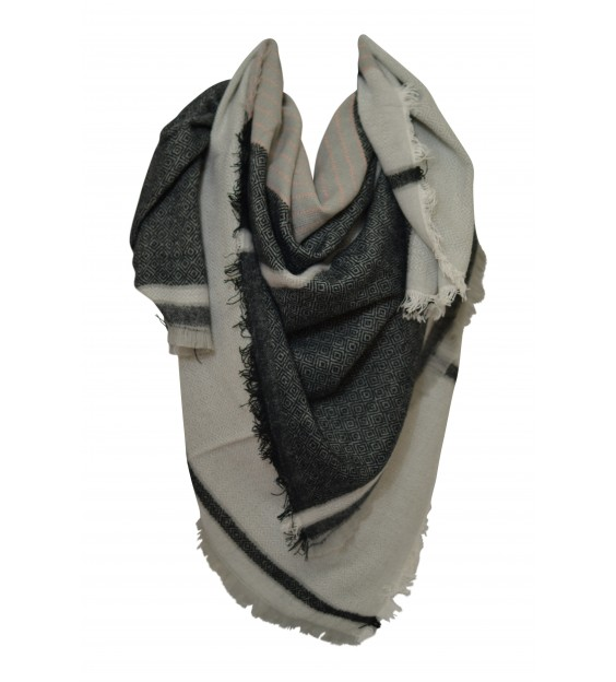 Scarf - Grafic - Light Grey/Black/White