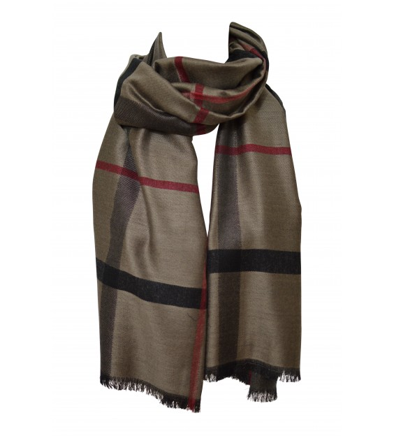 Sjaal - chequered - Taupe/Grey